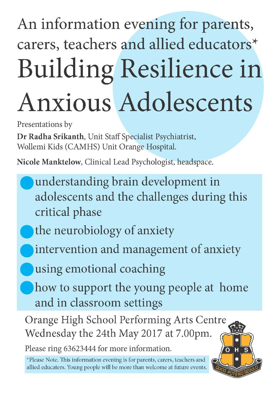 Resilience For Anxious Students >> Building Resilience In Anxious Adolescents Orange High School